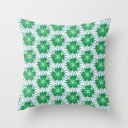 Salvia hispanica, green pattern Throw Pillow