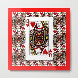 RED QUEEN OF HEARTS PLAYING CARDS ARTWORK Metal Print
