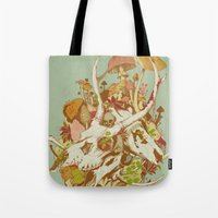 spring Tote Bags featuring skulls in spring by Teagan White
