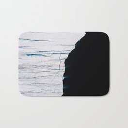 Black and White - Abstract minimal Iceberg aerial view in Greenland - Landscape Photography Bath Mat