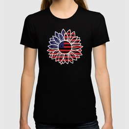 Patriotic Sunflower Red White and Blue Sunflower USA T-shirt