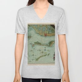 Map Of Jamaica 1756 Unisex V-Neck