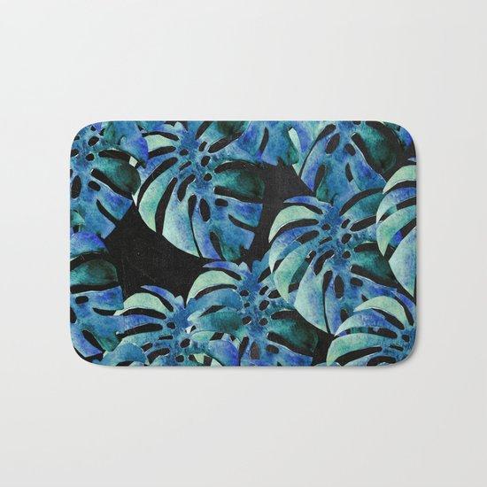 Monstera Pattern Blue On Chalkboard Bath Mat