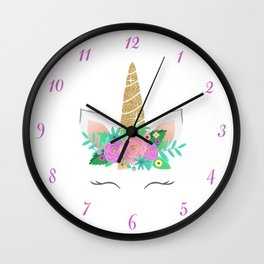 Golden Unicorn with Flowers Wall Clock