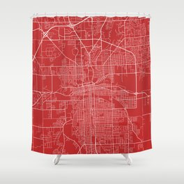 Fort Wayne Map, USA - Red Shower Curtain
