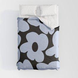 Baby Blue Retro Flowers on Black Background #decor #society6 #buyart Comforters