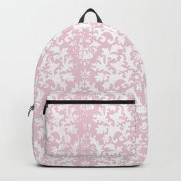 Vintage blush pink white grunge floral damask Backpack