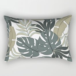 Summer seamless tropical pattern with bright plants and leaves on a delicate background. Hawaiian style. Modern abstract design for fabric, paper, interior decor. Rectangular Pillow