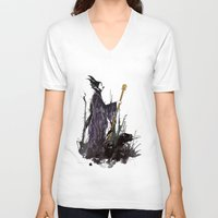 maleficent V-neck T-shirts featuring Maleficent by Louise Hubbard