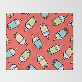 Bubble Tea Pattern in Red Throw Blanket