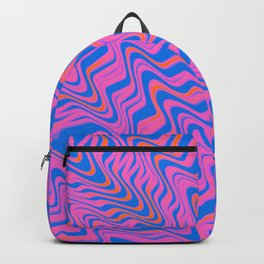 coral and orange on blue Backpack