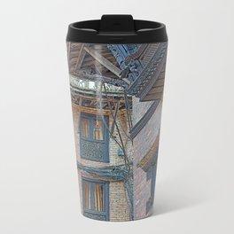 BHAKTAPUR NEPAL BRICKS WINDOWS WIRES Travel Mug