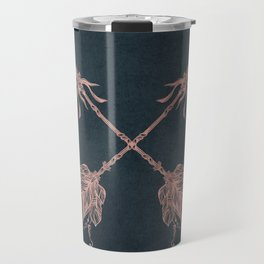 Arrows Rose Gold Foil on Navy Blue Travel Mug