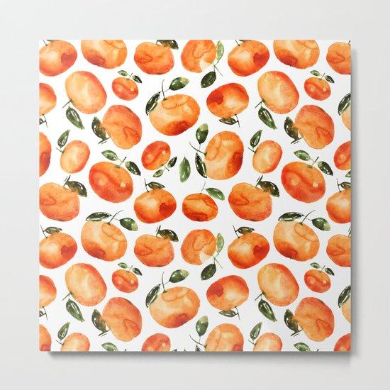 Watercolor tangerines Metal Print