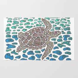 Vanishing Sea Turtle by Black Dwarf Designs Rug