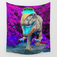 techno Wall Tapestries featuring Techno Dino by Hyde the Wild