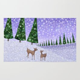deer in the winter woods Rug