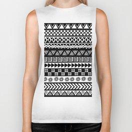 Black and white geometrical tribal motifs Biker Tank