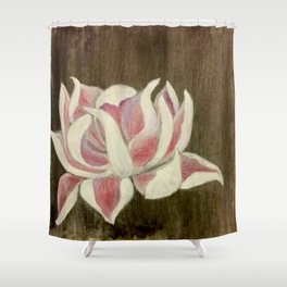 White and Pink Lotus Shower Curtain