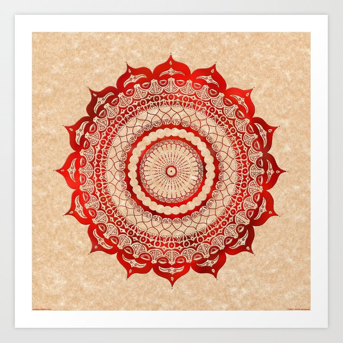 omulyána red gallery mandala Art Print