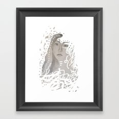 grey face made of pencil and lace Framed Art Print