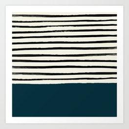 Dark Teal x Stripes Art Print