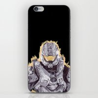 master chief iPhone & iPod Skins featuring Halo Master Chief by DeMoose_Art