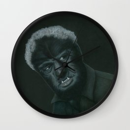 The Wolf Man on vinyl record print Wall Clock