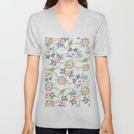 Modern blush pink teal watercolor flowers Unisex V-Neck