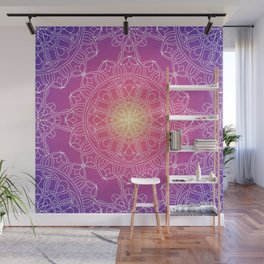 White Lace Mandala in Purple, Pink, and Yellow Wall Mural