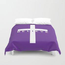 Believe Cross (Purple) Duvet Cover