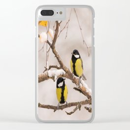 Lovely Songbirds on a Snowy Branch #decor #buyart #society6 Clear iPhone Case
