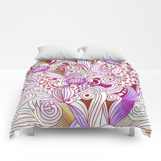 zentangle inspired Flower fire doodle, purple colorway Comforters
