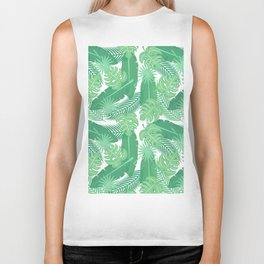 Tropical summer green banana monster leaves pattern Biker Tank