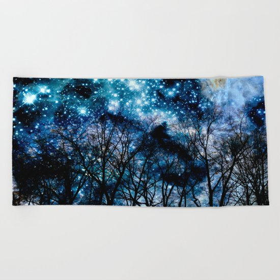 Black Trees Teal Space Beach Towel