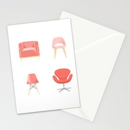 Set of Midcentury Modern Chairs in Living Coral Stationery Cards