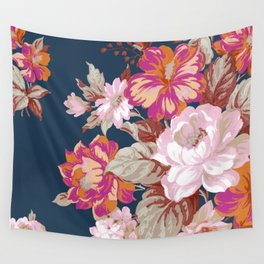 Vintage Floral on Blue Wall Tapestry