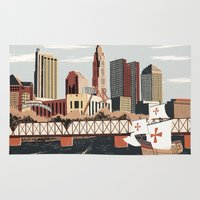 ohio Area & Throw Rugs featuring Columbus, Ohio by Sam Brewster