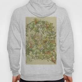 """Alphonse Mucha """"Printed textile design with hollyhocks in foreground"""" Hoody"""