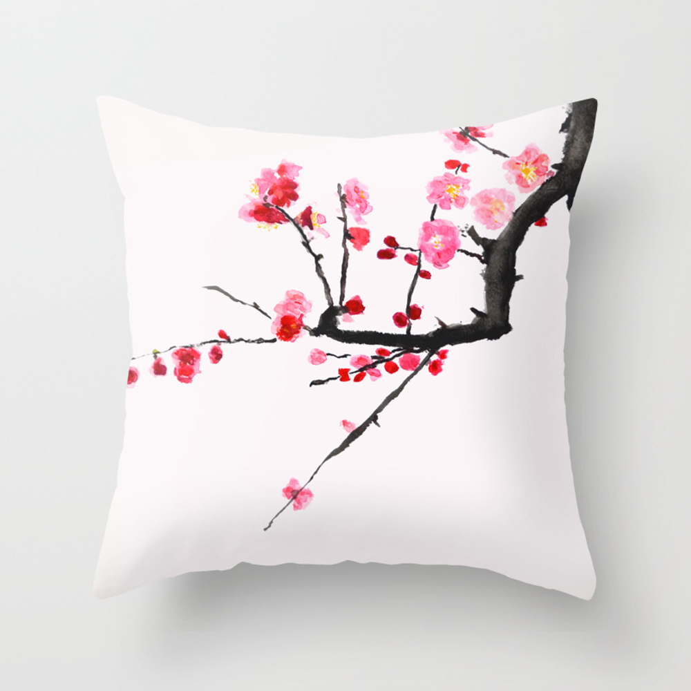 Red Plum Flower Red Background Throw Pillow by Colorandcolor PLW8113773