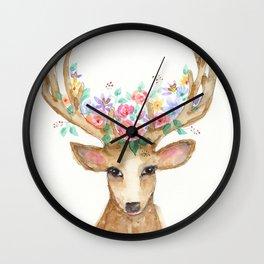 Deer with Flower Crown Wall Clock