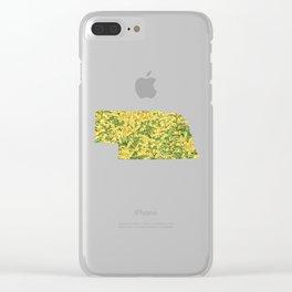 Nebraska in Flowers Clear iPhone Case