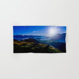 lake wanaka covered in blue colors new zealand beauties and mountains at sunrise Hand & Bath Towel
