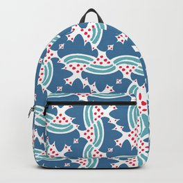 Abstract geometrical red blue artistic brushstrokes pattern Backpack
