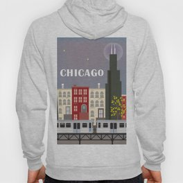 Chicago, Illinois - Skyline Illustration by Loose Petals Hoody