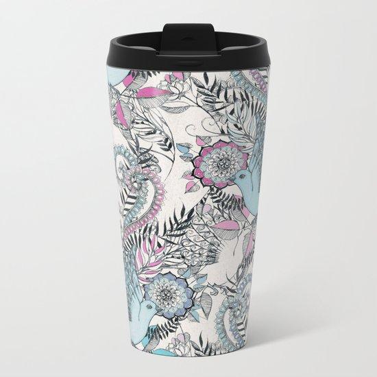 Flight of Fancy - pink, teal, cream Metal Travel Mug
