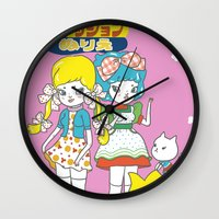 anime Wall Clocks featuring Retro Anime by Mel Stringer