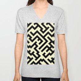Black and Cream Yellow Diagonal Labyrinth Unisex V-Neck