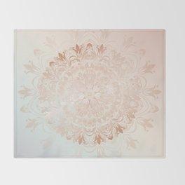 Rose Gold Blush Mint Floral Mandala Throw Blanket