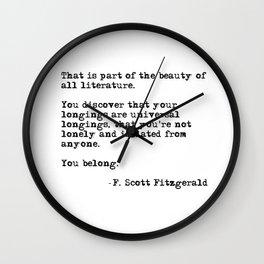 The beauty of all literature - F Scott Fitzgerald Wall Clock